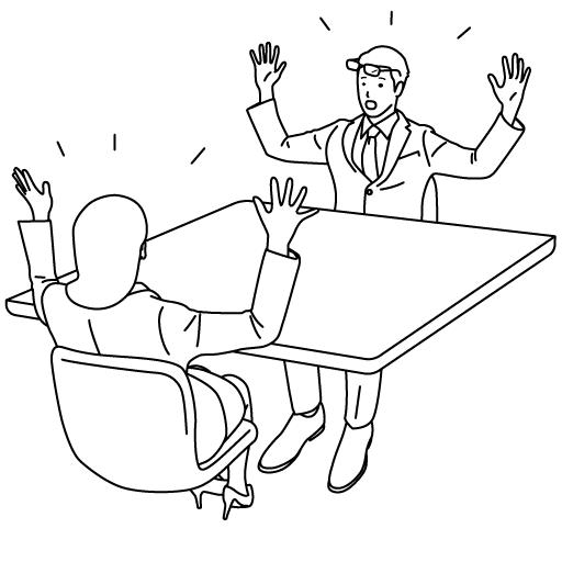 盛り上がるミーティングのイラスト